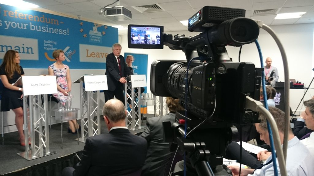 david davis on stage at the live eu debate
